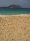 Areia da luz de Brown na praia Imagens de Stock Royalty Free