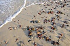 Areia da praia do mar e pedras molhadas Fotos de Stock Royalty Free