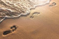 Areia das pegadas Foto de Stock Royalty Free
