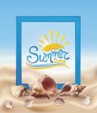 Areia e conchas do mar ilustração do vetor