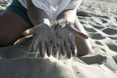 Areia fina morna no verão Foto de Stock Royalty Free