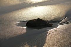 Areia molhada da praia sob o brilho da luz solar brilhante Imagem de Stock Royalty Free