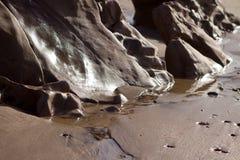 Areia molhada na costa Imagens de Stock Royalty Free