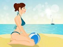 Areia moreno da menina no verão ilustração stock