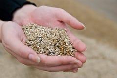 Areia nas mãos fêmeas Fotografia de Stock