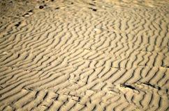 A areia no litoral assinou pelo vento Fotografia de Stock Royalty Free