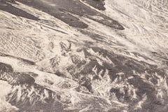 Areia preto e branco da textura do fundo natureza lanzarote do teste padrão Imagens de Stock