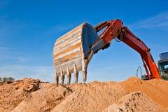 Areia que escava Quarrying o Backhoe Fotografia de Stock