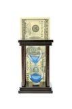 Areia-vidro e dólar Foto de Stock Royalty Free