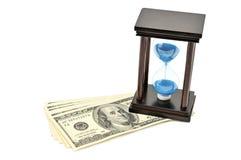 Areia-vidro e dólar. Foto de Stock Royalty Free