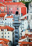 Santa Justa Lift. Areial view of Santa Justa Lift in Lisbon Stock Photo