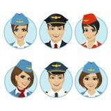 Areje avatars do membro do grupo dos pilotos e das comissárias de bordo ilustração stock