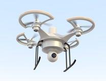 Areje o zangão com voo da câmera no céu Fotos de Stock Royalty Free