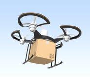Areje o zangão com voo do pacote da caixa no céu Imagens de Stock