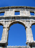 Arena. Arches of an ancient roman amphitheater in Pula, Croatia Stock Photo