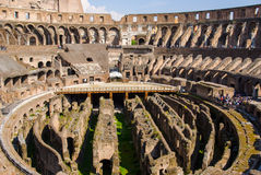 The arena in ancient Coliseum in Rome, Italy at sunny day Royalty Free Stock Images