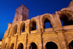 Arena of Arles during twilight Stock Images