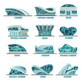 Arena building or soccer, football stadiums icons Stock Photo
