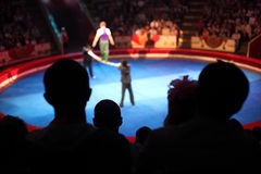 Arena in circus performance with acrobat. Blue arena in circus performance with acrobat on bean focus on spectator Stock Photos