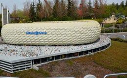 A arena de Allianz é um estádio de futebol em Munich, do bloco plástico do lego Foto de Stock