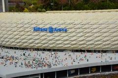 A arena de Allianz é um estádio de futebol em Munich, do bloco plástico do lego Fotografia de Stock Royalty Free