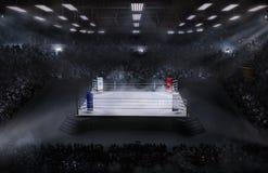 Arena de boxeo con la luz del estadio imágenes de archivo libres de regalías