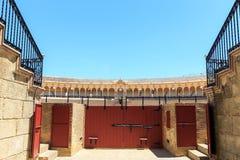 Arena de la corrida, plaza de toros en Sevilla, La Maestranza Fotografía de archivo libre de regalías
