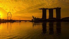 Arena de Marina Bay por la mañana Singapur almacen de metraje de vídeo