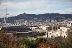 Arena, de Toren en het Stadion van Barcelona de Olympische Stock Afbeeldingen