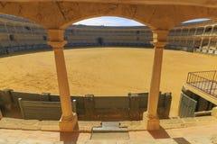 Arena della cavalleria reale di Ronda grandangolare fotografia stock libera da diritti