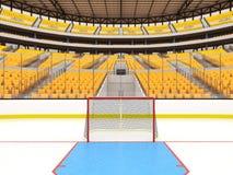 Arena deportiva hermosa para el hockey sobre hielo con los asientos amarillos y las cajas del VIP Imágenes de archivo libres de regalías