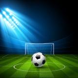 Arena di calcio, stadio con un pallone da calcio Fotografia Stock Libera da Diritti