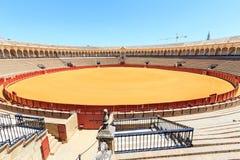 Arena di corrida, plaza de toros in Siviglia, La Maestranza fotografia stock