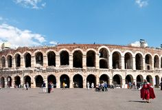 Arena di Verona. VERONA, ITALY - MAY 7: Verona amphitheatre during a sunny spring day with many tourists on May 7, 2012 in Verona, The Arena is located in the Stock Images
