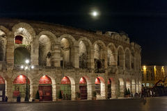 Arena di Verona and harvest Moon Royalty Free Stock Images