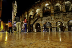 Arena di verona by night with ligh Royalty Free Stock Photo