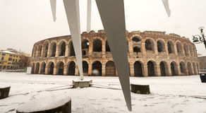 Arena di Verona with Snow - Veneto Italy Stock Photo