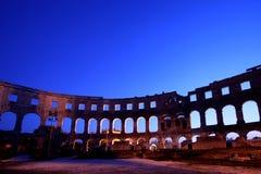 Arena do amphitheatre romano nos Pula fotos de stock royalty free