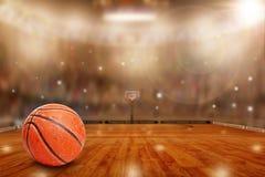 Arena do basquetebol com a bola no espaço da corte e da cópia Foto de Stock Royalty Free