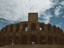 Arena e Roman Amphitheatre, Arles, Provence, França fotografia de stock royalty free