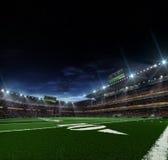 Arena för amerikansk fotboll för natt Fotografering för Bildbyråer