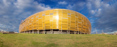 Arena Football Stadium in Gdansk, Poland. GDANSK, POLAND - SEPTEMBER 19: PGE Yellow gate to the Arena which is a newly built football stadium for Euro 2012 Stock Photo