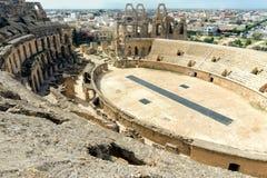Arena gladiatório do EL Jem do anfiteatro no EL Djem, Tunísia imagens de stock royalty free