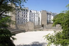 Arena of Lutetia, Paris Roman gallo  (Paris France) Stock Photo