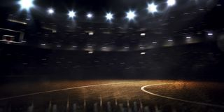 Arena magnífica del baloncesto en el 3drender oscuro Foto de archivo