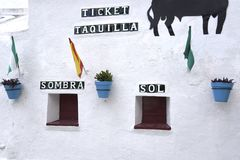 Arena a Mijas nelle montagne sopra Costa del Sol in Spagna Fotografie Stock Libere da Diritti