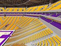 Arena moderna grande del baloncesto con los asientos amarillos Fotografía de archivo libre de regalías