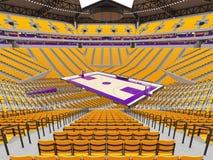 Arena moderna grande del baloncesto con los asientos amarillos Fotos de archivo libres de regalías