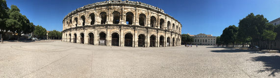 Arena of Nîmes panorama, France Royalty Free Stock Photo