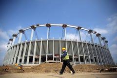 Arena nazionale nella costruzione Immagini Stock Libere da Diritti